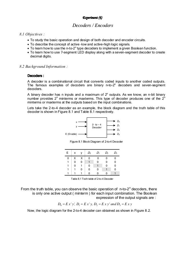 Experiment (6)                                      Decoders / Encoders8.1 Objectives :     •   To study the basic operati...