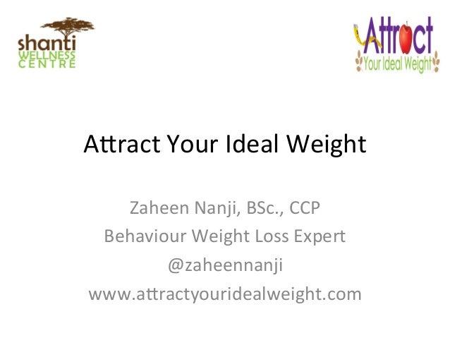 """A""""ract  Your  Ideal  Weight   Zaheen  Nanji,  BSc.,  CCP   Behaviour  Weight  Loss  Expert   @zahe..."""