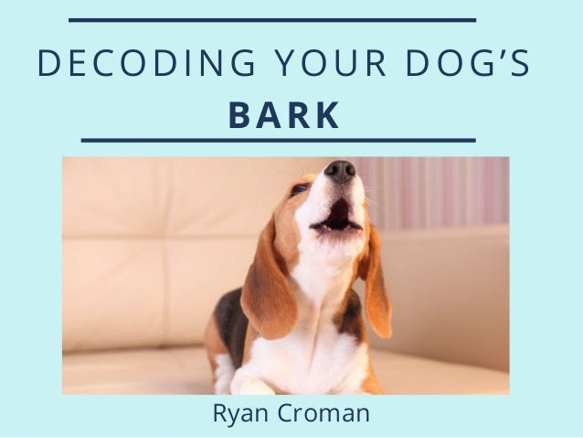 DECODING YOUR DOG'S BARK Ryan Croman