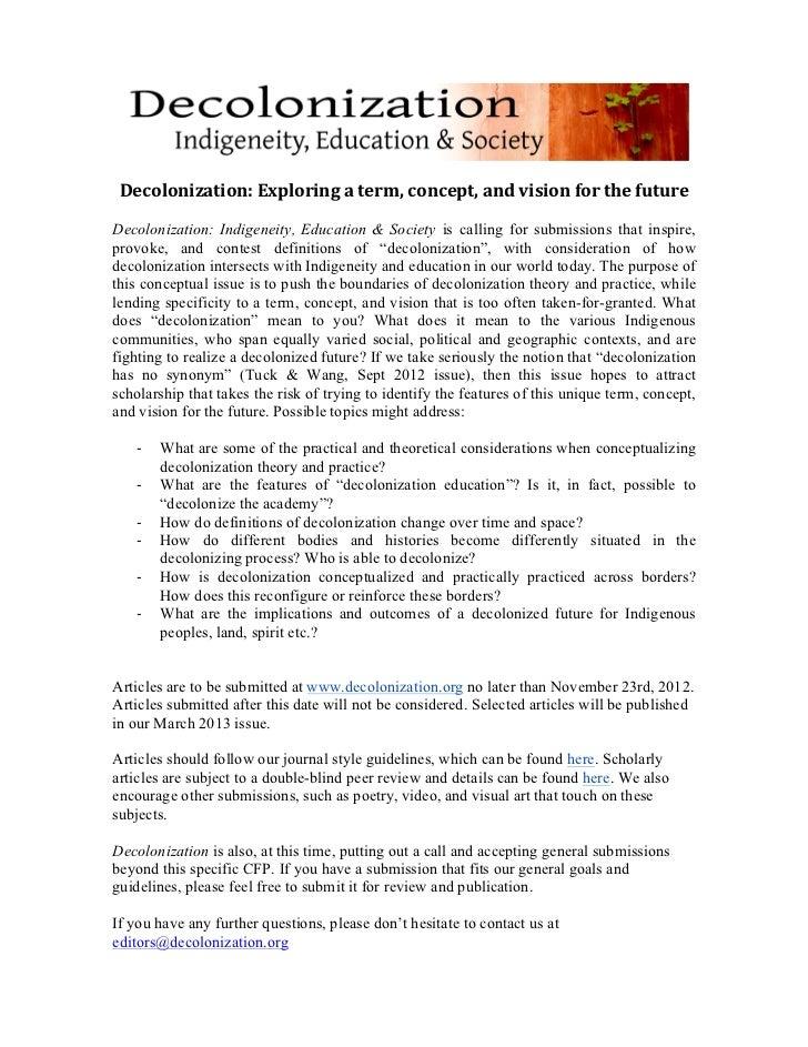 Decolonization: Exploring a term, concept, and vision ...