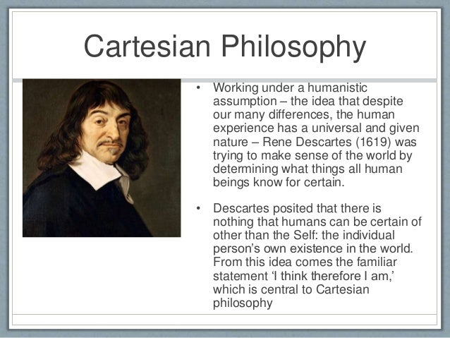 a overview of the philosophy of rene descartes about our existence René descartes introduction that is not descartes's entire contribution to philosophy—not by a long shot descartes's actual interest is in attaining absolute assuming only the existence of himself, descartes goes on to prove first the existence of god and then the existence of an.