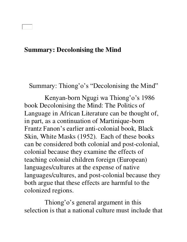 decolonizing the mind as a postcolonial text