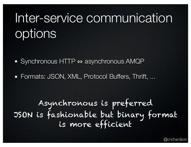 @crichardson Inter-service communication options Synchronous HTTP asynchronous AMQP Formats: JSON, XML, Protocol Buffers, ...