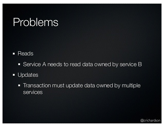 @crichardson Problems Reads Service A needs to read data owned by service B Updates Transaction must update data owned by ...