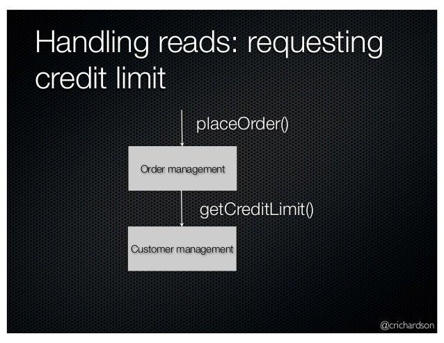 @crichardson Handling reads: requesting credit limit Order management placeOrder() Customer management getCreditLimit()