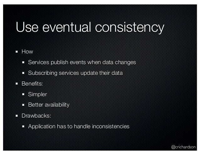 @crichardson Use eventual consistency How Services publish events when data changes Subscribing services update their data...