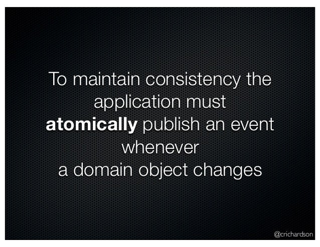 @crichardson To maintain consistency the application must atomically publish an event whenever a domain object changes