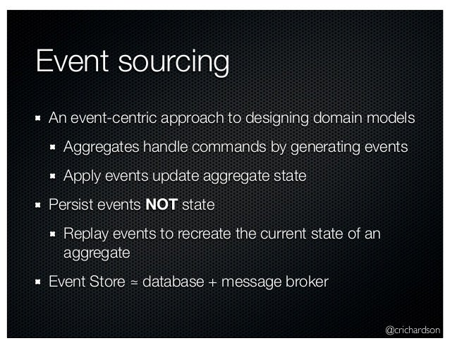 @crichardson Event sourcing An event-centric approach to designing domain models Aggregates handle commands by generating ...