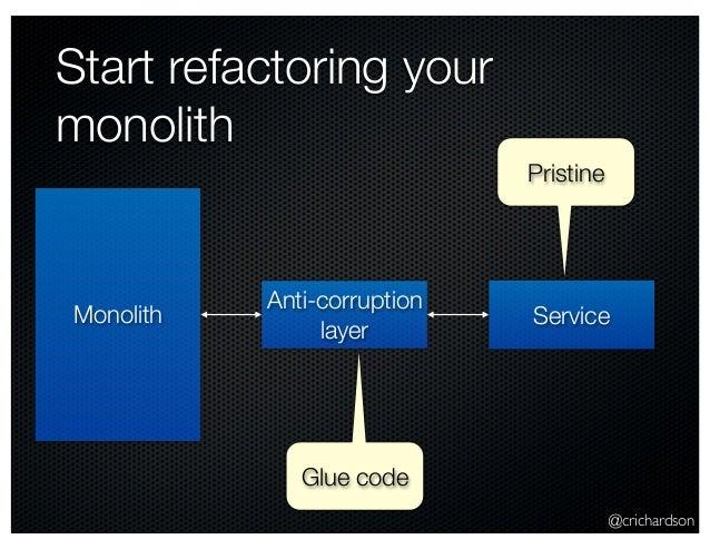 @crichardson Start refactoring your monolith Monolith Service Anti-corruption layer Glue code Pristine