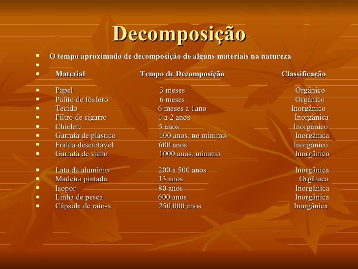 Decomposição <ul><li>O tempo aproximado de decomposição de alguns materiais na natureza </li></ul><ul><li>Material  Tempo ...