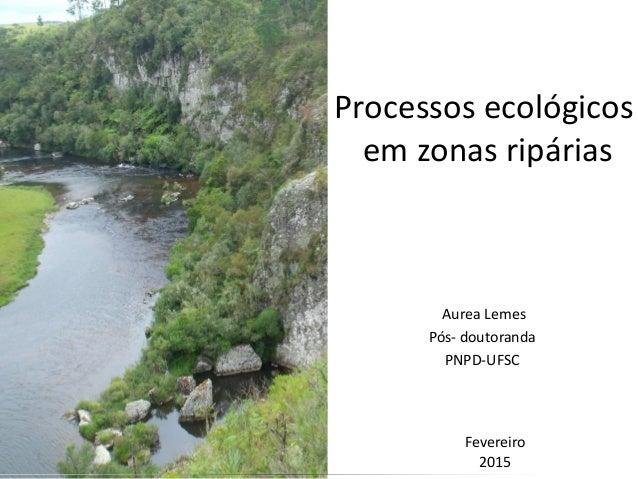 Processos ecológicos em zonas ripárias Aurea Lemes Pós- doutoranda PNPD-UFSC 1 Fevereiro 2015