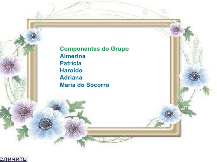 Componentes do Grupo Almerina Patrícia Haroldo Adriana Maria do Socorro