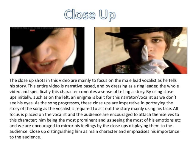The close up shots in this video are mainly to focus on the male lead vocalist as he tells his story. This entire video is...