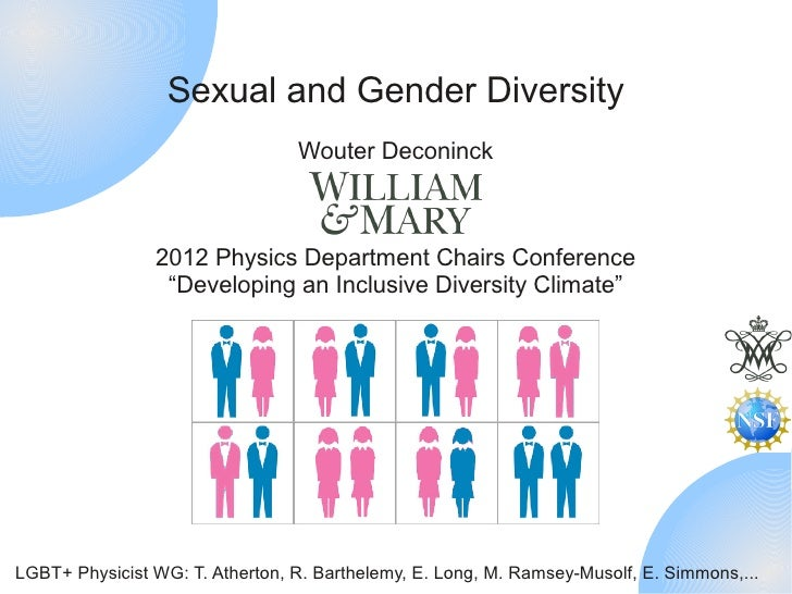 Sexual and Gender Diversity                                 Wouter Deconinck                2012 Physics Department Chairs...