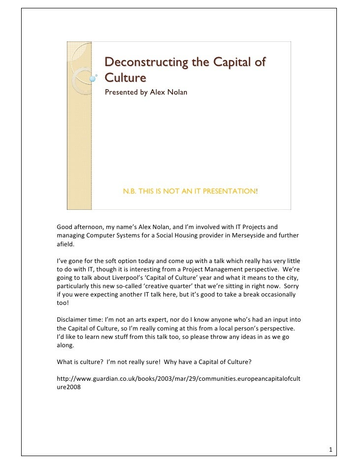 Deconstructing the Capital of                  Culture                  Presented by Alex Nolan                           ...