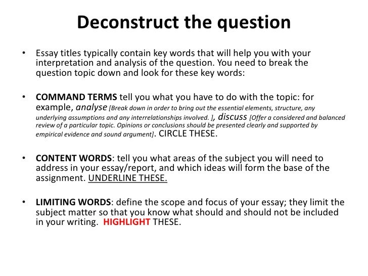 deconstructing an essay deconstruct the questionbull essay