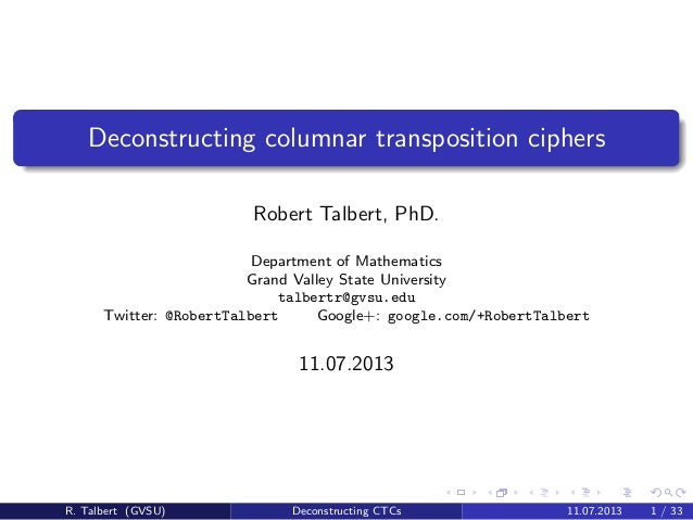 Deconstructing columnar transposition ciphers Robert Talbert, PhD. Department of Mathematics Grand Valley State University...