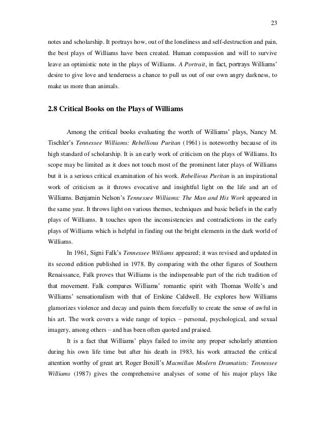 an analysis of a portrait in laughter and lamentation by tennessee williams March thomas lanier williams is born on march 26 in columbus, mississippi ( he will rename himself tennessee in 1939) 1936 february williams recollects an inciting theatrical event of this time: the first time i wanted to become a playwright was when i saw alla nazimova in [ibsen's] ghosts from the peanut gallery of.