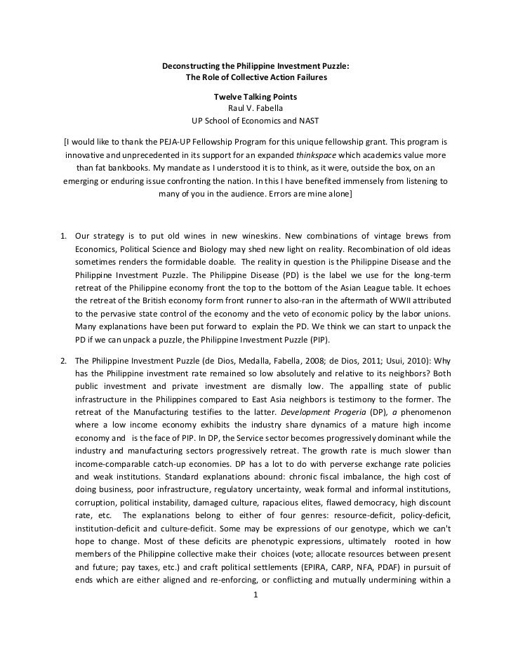 Deconstructing the Philippine Investment Puzzle:                                The Role of Collective Action Failures    ...
