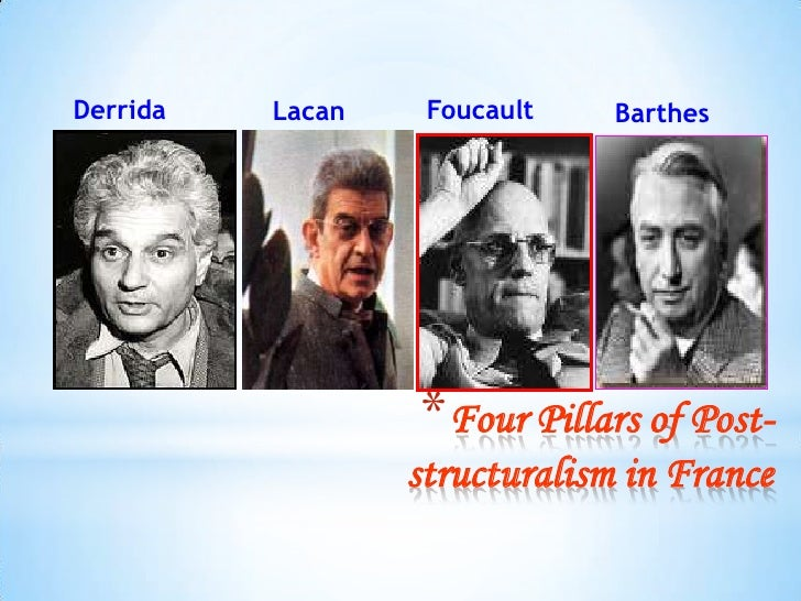 Derrida   Lacan    Foucault    Barthes                  *Four Pillars of Post-                  structuralism in France