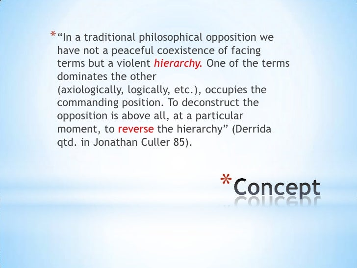 """* """"In a traditional philosophical opposition we have not a peaceful coexistence of facing terms but a violent hierarchy. O..."""