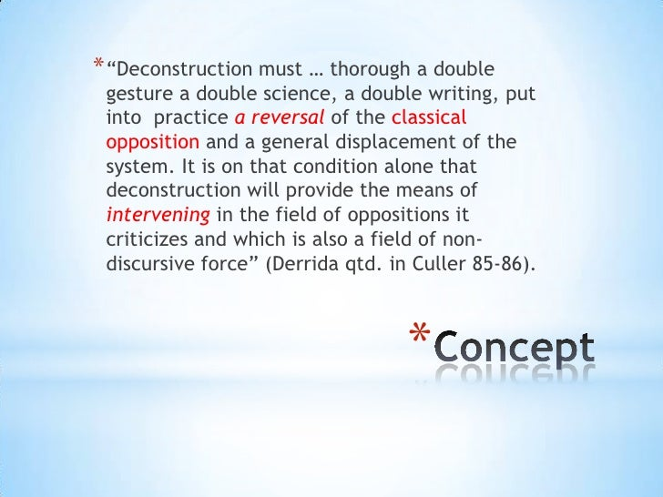 """* """"Deconstruction must … thorough a double gesture a double science, a double writing, put into practice a reversal of the..."""