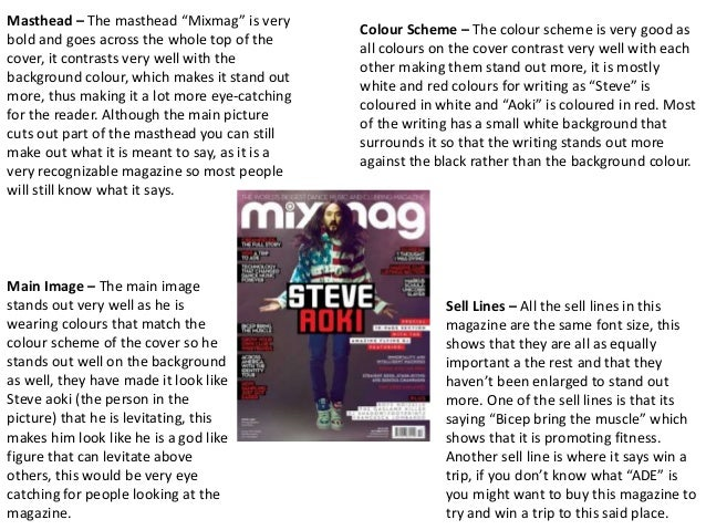 """Masthead – The masthead """"Mixmag"""" is very  bold and goes across the whole top of the  cover, it contrasts very well with th..."""