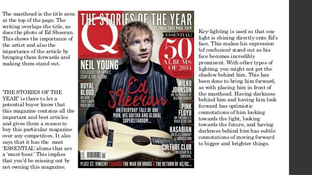 The masthead is the title area at the top of the page. The writing overlaps the title, as does the photo of Ed Sheeran. Th...
