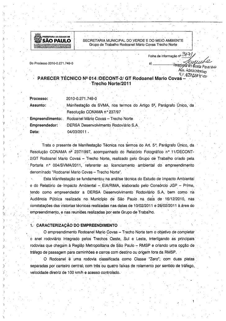 70 observações da prefeitura contra o Rodoanel Norte