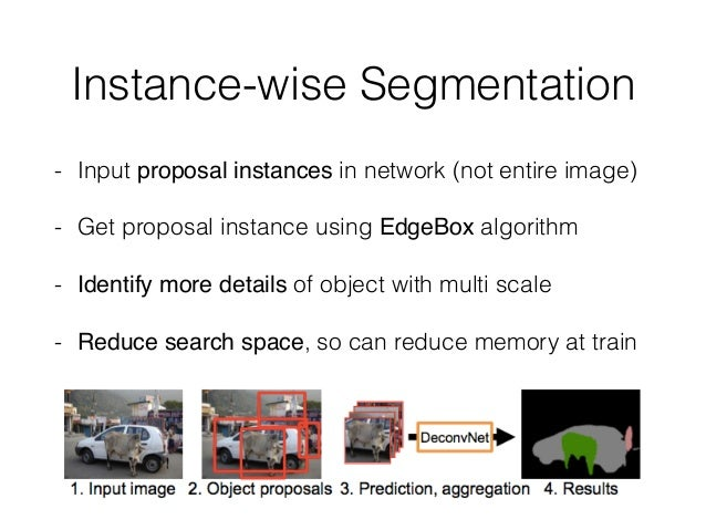 Instance-wise Segmentation - Input proposal instances in network (not entire image) - Get proposal instance using EdgeBox ...
