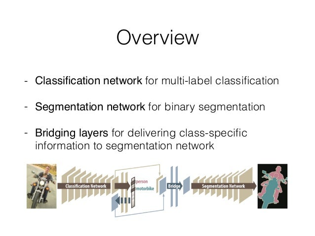 Overview - Classification network for multi-label classification - Segmentation network for binary segmentation - Bridging l...