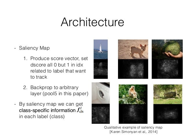 Architecture - Saliency Map 1. Produce score vector, set dscore all 0 but 1 in idx related to label that want to track 2. ...