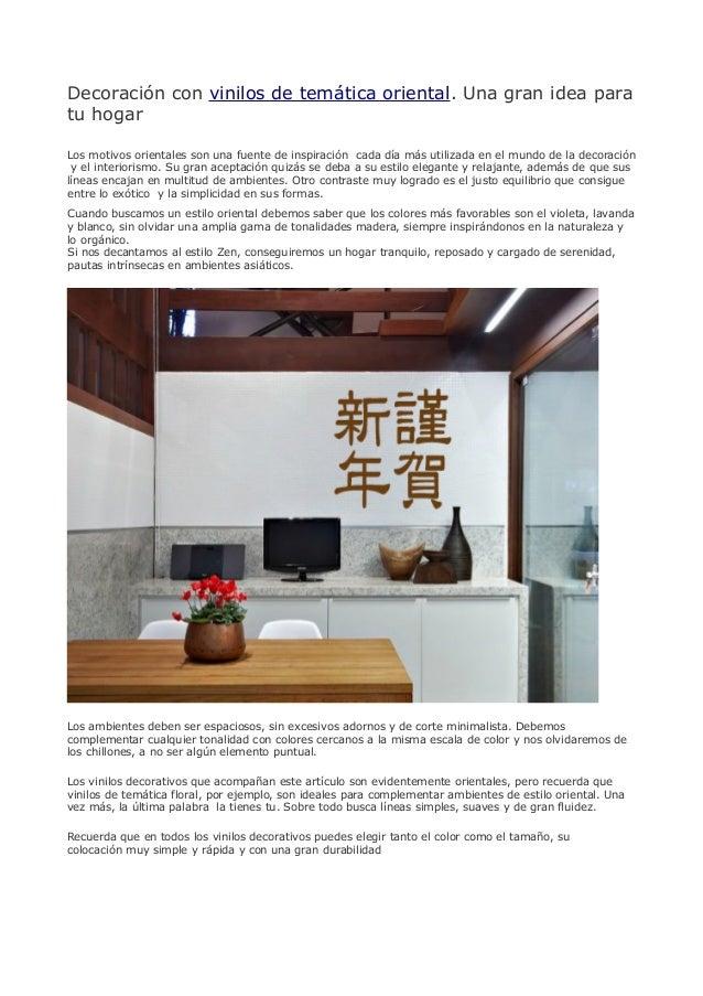 Decoraci n con vinilos de tem tica oriental una gran idea - App decoracion hogar ...