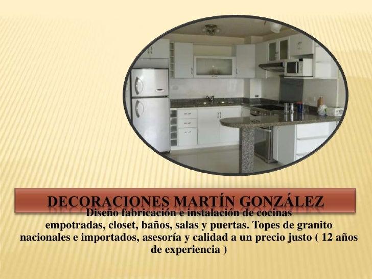 Diseño fabricación e instalación de cocinas     empotradas, closet, baños, salas y puertas. Topes de granitonacionales e i...