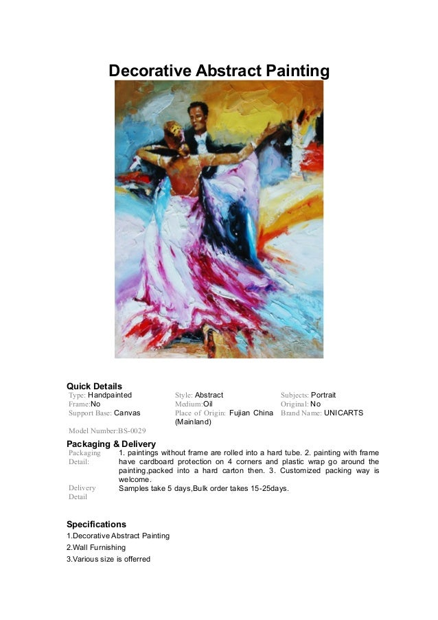 Decorative Abstract Painting Quick Details Type: Handpainted Style: Abstract Subjects: Portrait Frame:No Medium:Oil Origin...