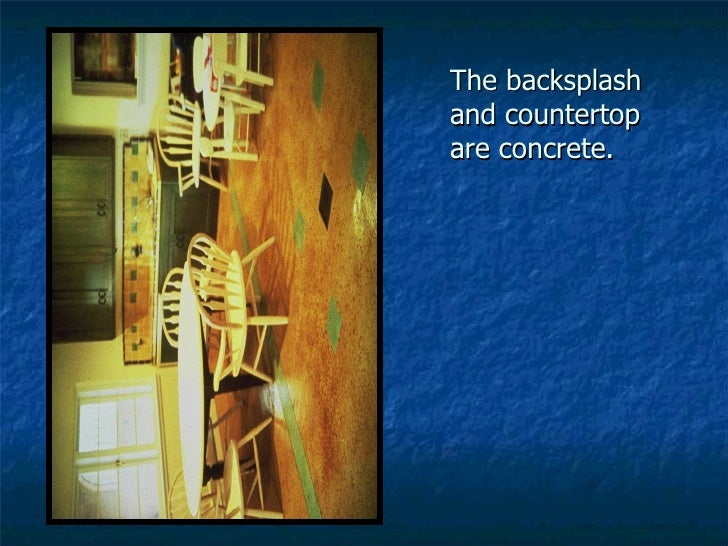 The backsplash and countertop are concrete.