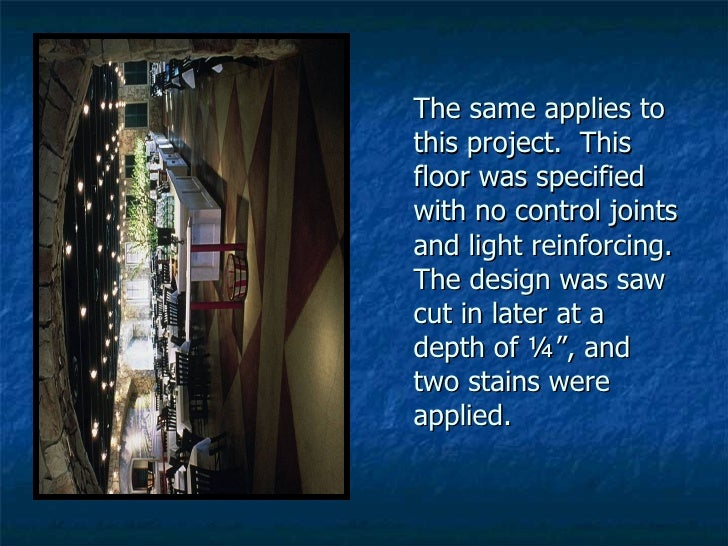 The same applies to this project.  This floor was specified with no control joints and light reinforcing.  The design was ...