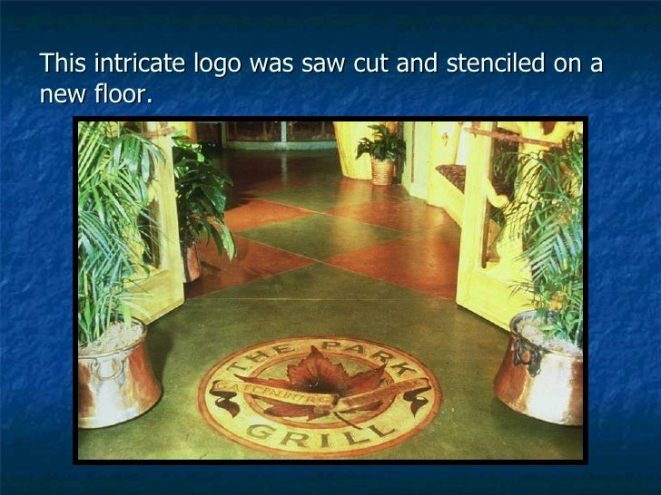 This intricate logo was saw cut and stenciled on a new floor.