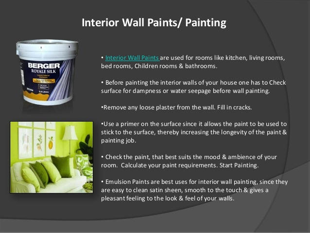 Interior Wall Paints/ Painting ...