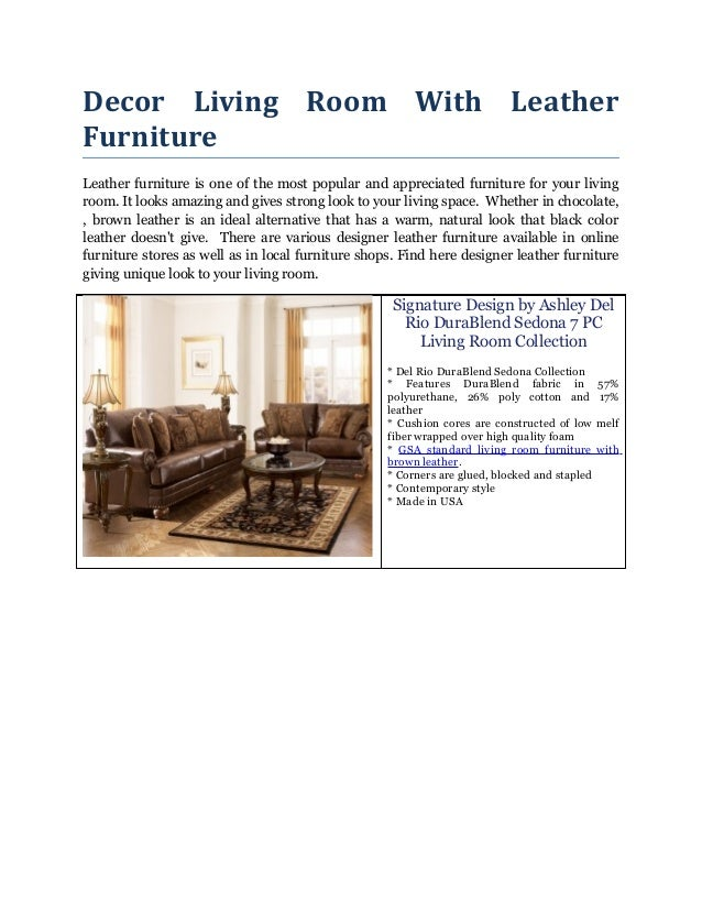 Decor Living Room With Leather Furniture Leather furniture is one of the most popular and appreciated furniture for your l...