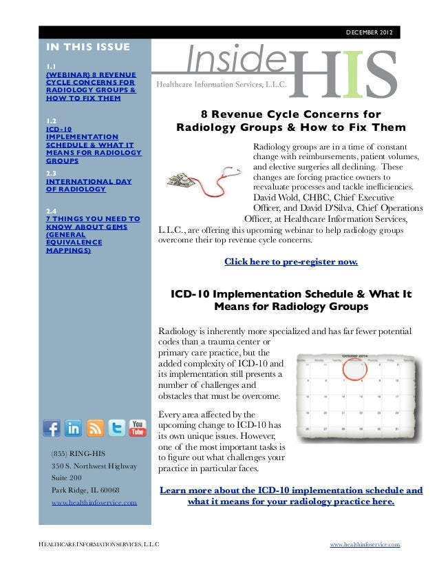 DECEMBER 2012                                             Inside  IN THIS ISSUE  1.1  {WEBINAR} 8 REVENUE  CYCLE CONCERNS ...