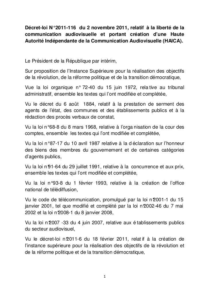 Décret-loi N° 2011-116 du 2 novembre 2011, relatif à la liberté de lacommunication audiovisuelle et portant création d'une...