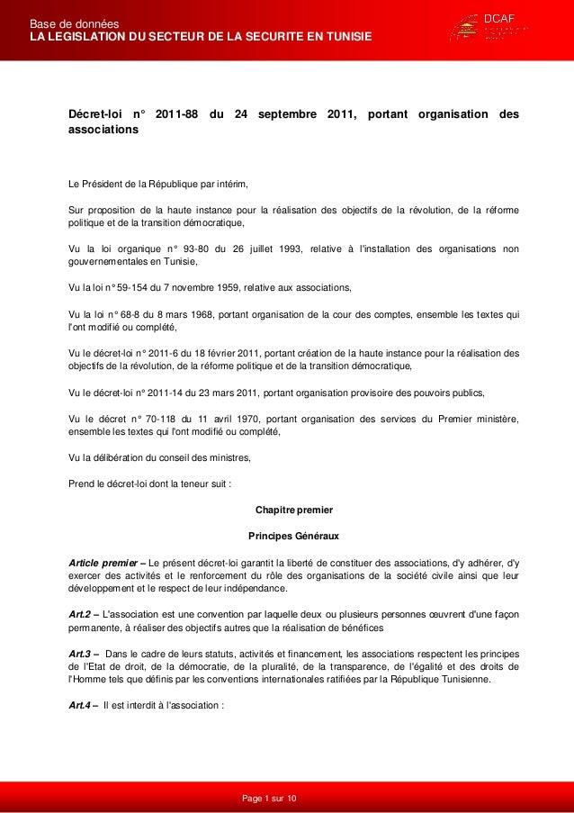 Page 1 sur 10  Base de données  LA LEGISLATION DU SECTEUR DE LA SECURITE EN TUNISIE  Décret-loi n° 2011-88 du 24 septembre...
