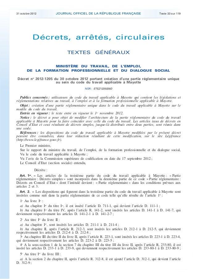 31 octobre 2012             JOURNAL OFFICIEL DE LA RÉPUBLIQUE FRANÇAISE                                Texte 33 sur 119   ...