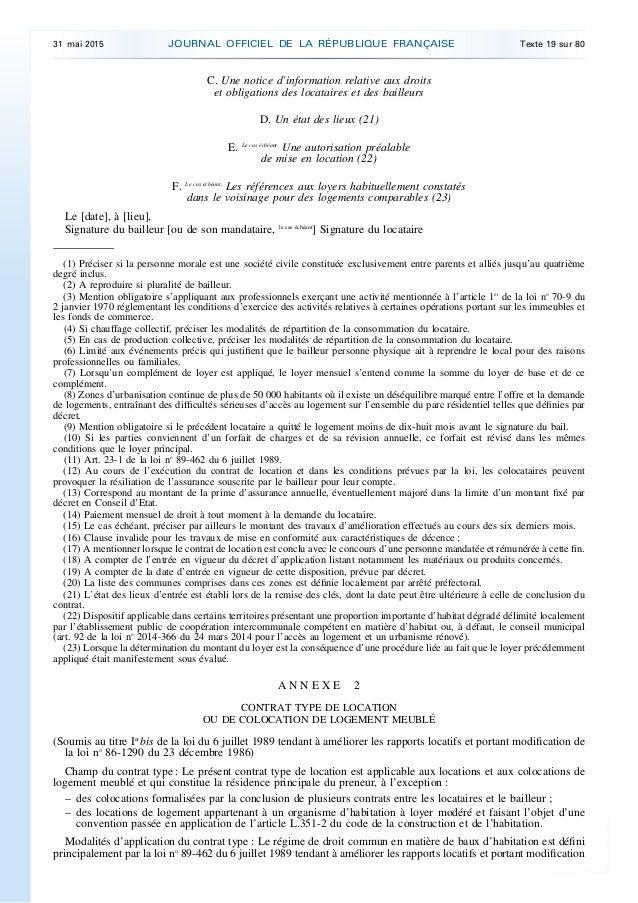 Decret 2015 587 du 29 mai 2015 contrats types de - Contrat de location appartement meuble ...