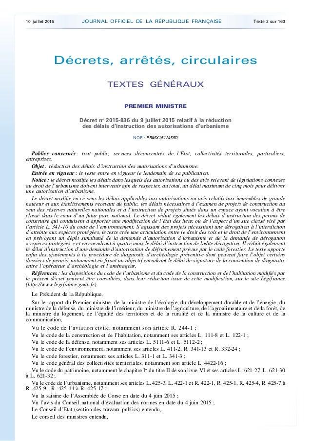 Décrets, arrêtés, circulaires TEXTES GÉNÉRAUX PREMIER MINISTRE Décret no 2015-836 du 9 juillet 2015 relatif à la réduction...