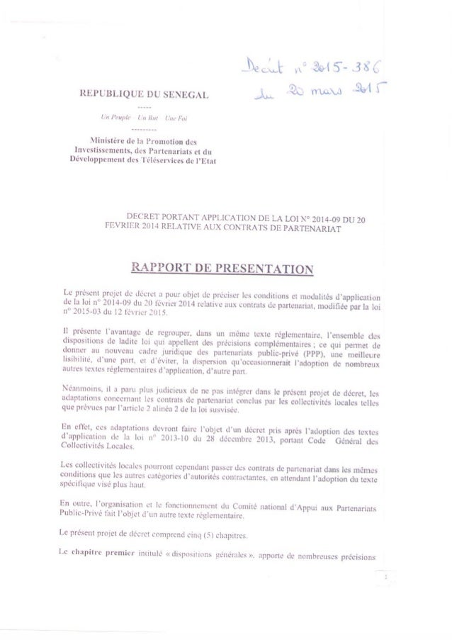 Decret d'application loi relative aux contrats de partenariat