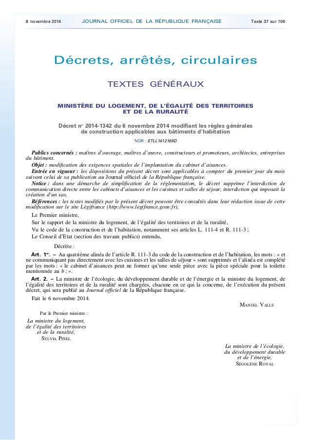 Décrets, arrêtés, circulaires TEXTES GÉNÉRAUX MINISTÈRE DU LOGEMENT, DE L'ÉGALITÉ DES TERRITOIRES ET DE LA RURALITÉ Décret...