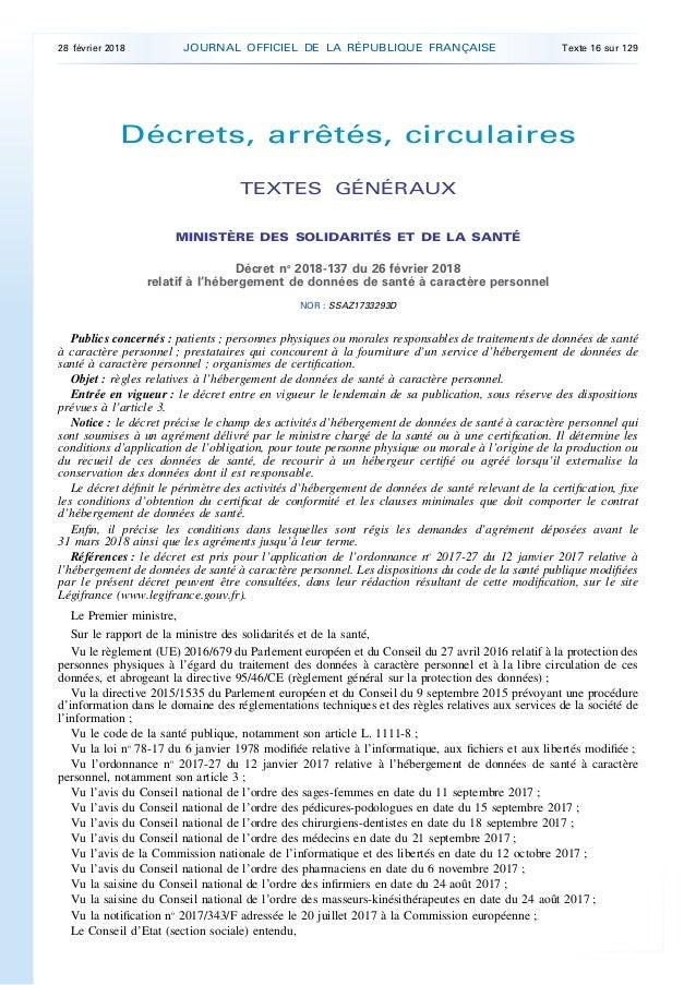 Décrets, arrêtés, circulaires TEXTES GÉNÉRAUX MINISTÈRE DES SOLIDARITÉS ET DE LA SANTÉ Décret no 2018-137 du 26 février 20...