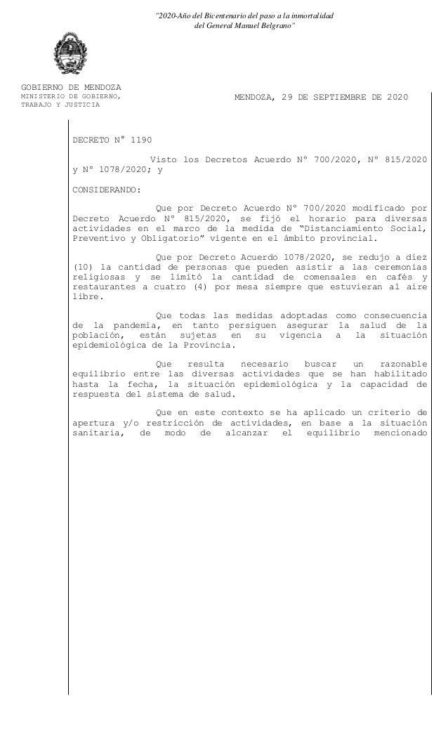 """GOBIERNO DE MENDOZA MINISTERIO DE GOBIERNO, TRABAJO Y JUSTICIA MENDOZA, 29 DE SEPTIEMBRE DE 2020 """"2020-Año del Bicentenari..."""